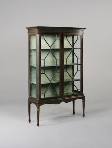 A George III style mahogany display cabinet on stand