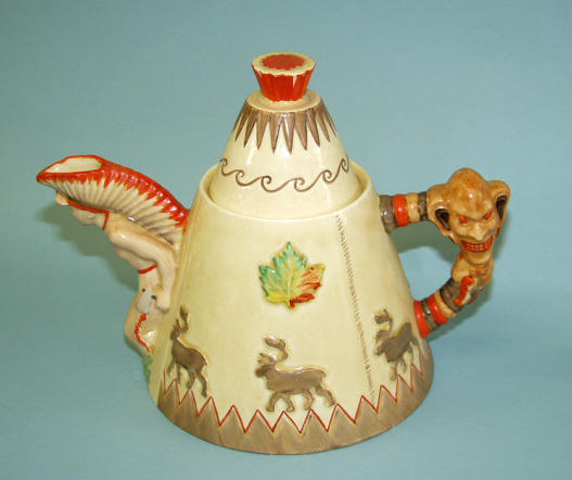 A Clarice Cliff `Tee Pee' `Greeting from Canada' teapot