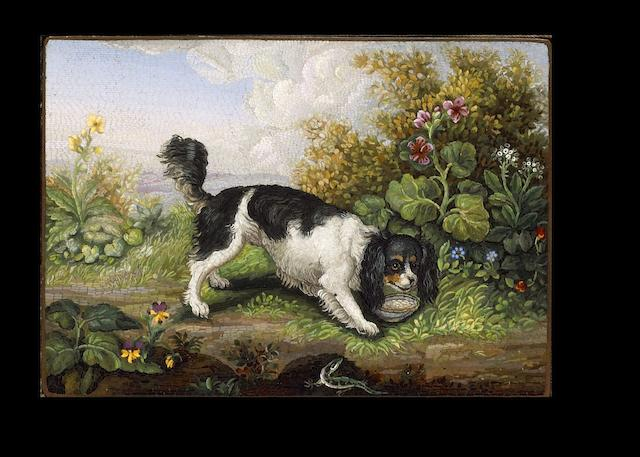 A fine early 19th century Italian micro-mosaic Plaque of a King Charles spaniel