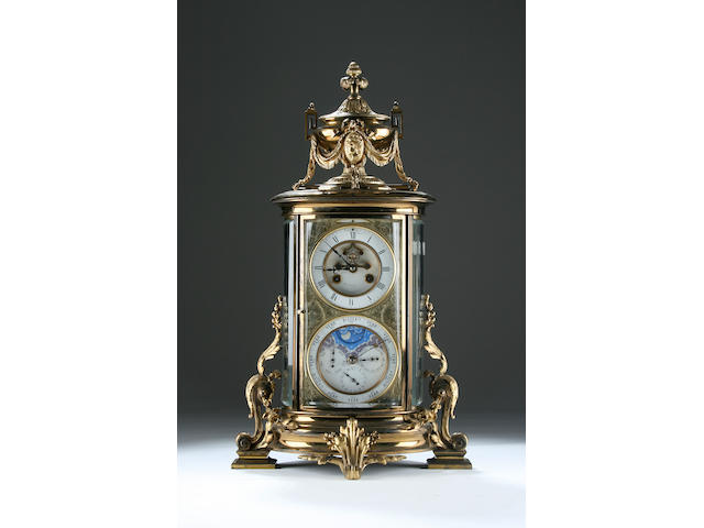 A French perpetual calendar four-glass mantel clock with pediment