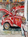 John Bratby R.A. (1928-1992) Jean's Car with David 122 x 91.5 cm. (48 x 36 in.)