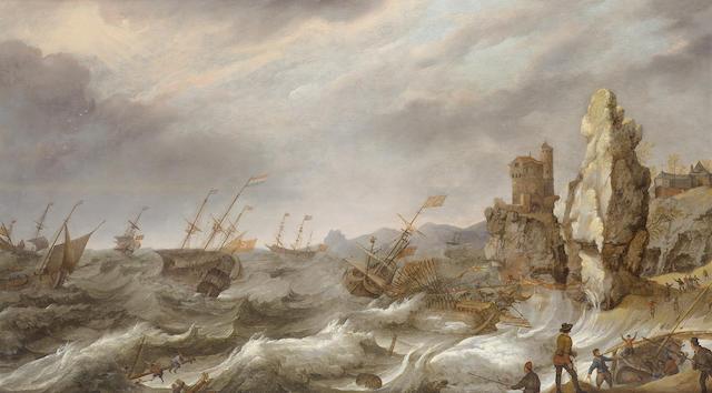Abraham Willaerts (Utrecht 1603-1669) Dutch shipping foundering in stormy seas,  62.3 x 106.5 cm. (2