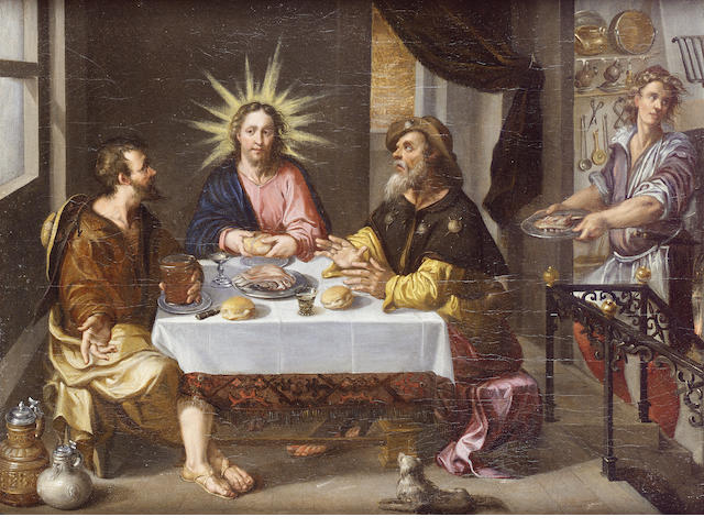 Attributed to Dirck de Vries (1560-1617) The Supper at Emmaus 42.5 x 55 cm. (16¾ x 21 5/8 in.)