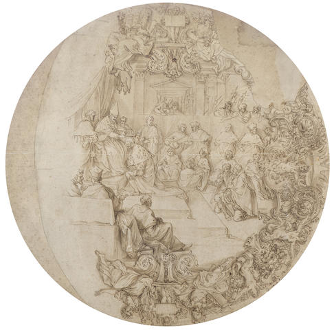 Carlo Maratta (Camerano 1625-1713 Rome) The Coronation of Grand Duke Cosimo I de'Medici 63.9 x 64.2 cm. (25 1/8 x 25¼ in.), tondo unframed