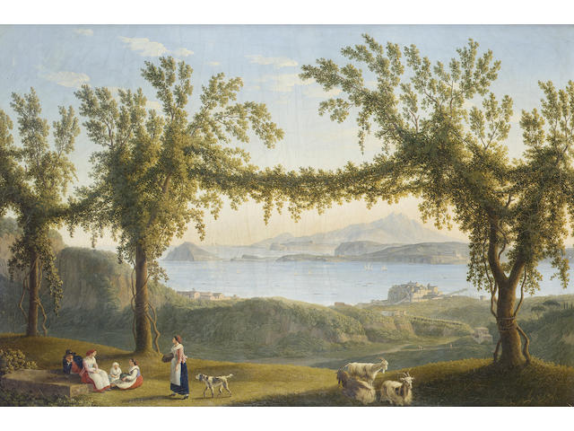 Jacob Philipp Hackert (Prenzlau 1737-1807 San Piero di Careggio) Country folk resting beneath vines 65 x 97 cm. (25 9/16 x 38 3/16 in.)