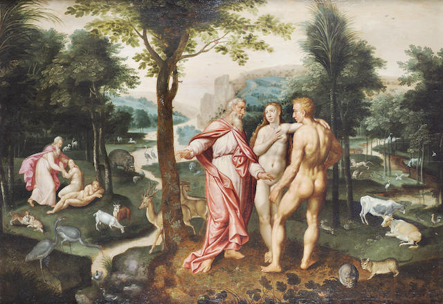 Jacob de Backer (active Antwerp between 1570 and 1591)  Adam and Eve in the Garden of Eden 75 x 107