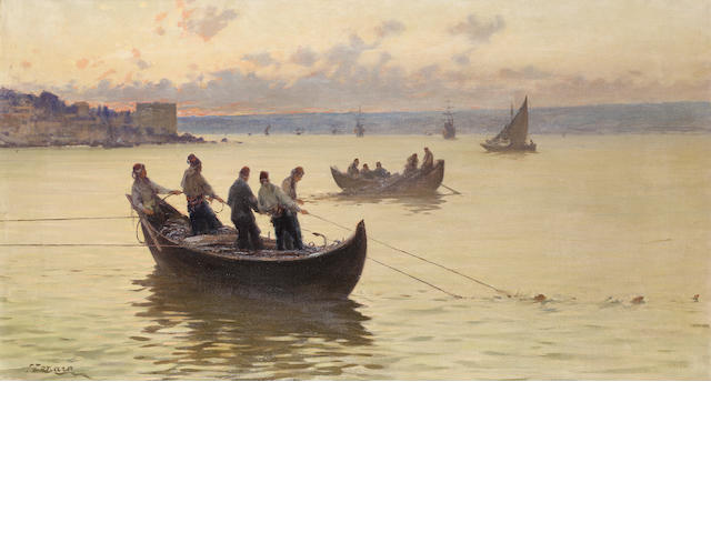 Fausto Zonaro (Italian, 1854-1929) Fishermen on the Bosphorus at dusk 55 x 100 cm. (20 1/2 x 39 1/4