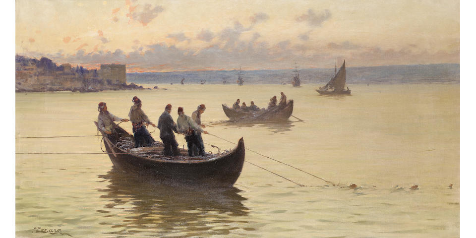 Fausto Zonaro (Italian, 1854-1929) Fishermen on the Bosphorus at dusk 55 x 100 cm. (20½ x 39¼ in.)