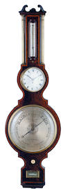 An early-mid 19th century kingwood banded mahogany wheel barometer with fusee timepiece and brass co