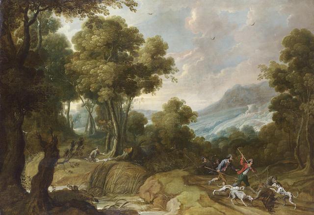 Jan Wildens (Antwerp 1586-1653) and Cornelis de Wael (Antwerp 1592-1667 Rome) A forest landscape wit