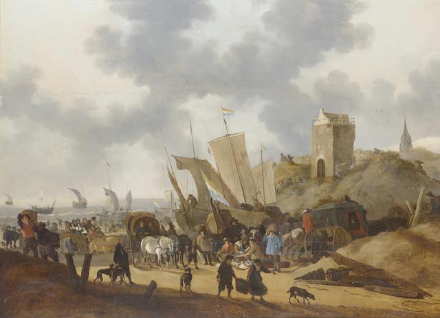 Hendrick de Meyer (circa 1620-before 1690 Rottedam) The beach at Scheveningen with fishermen unloading their catch 91.4 x 124.5 cm. (36 x 49 in.)