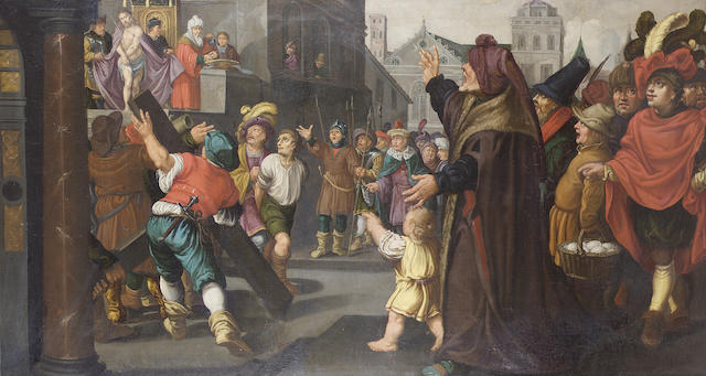 Circle of Jan Pynas (Haarlem 1583-after 1634 Amsterdam) Ecce Homo 99.5 x 188 cm. (39 1/8 x 74 in.)