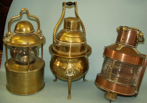 A copper ship's lantern,