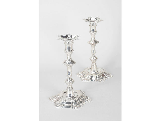 A pair of George II cast candlesticks By William Grundy, 1751,  (2)