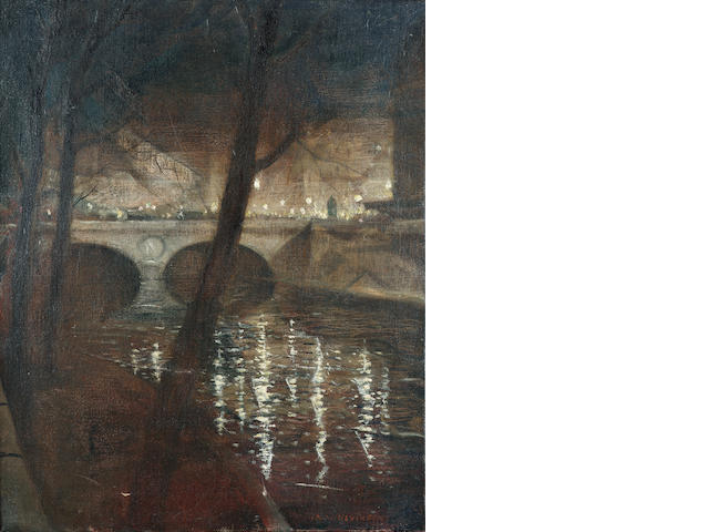Christopher Richard Wynne Nevinson A.R.A. (1889-1946) Paris, La Nuit 51 x 41 cm. (20 x 16 in.)