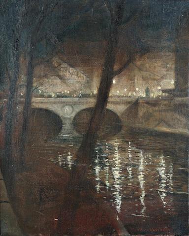 Christopher Richard Wynne Nevinson A.R.A. (1889-1946) Paris, La Nuit 51 x 41 cm. (20 x 16 in.)