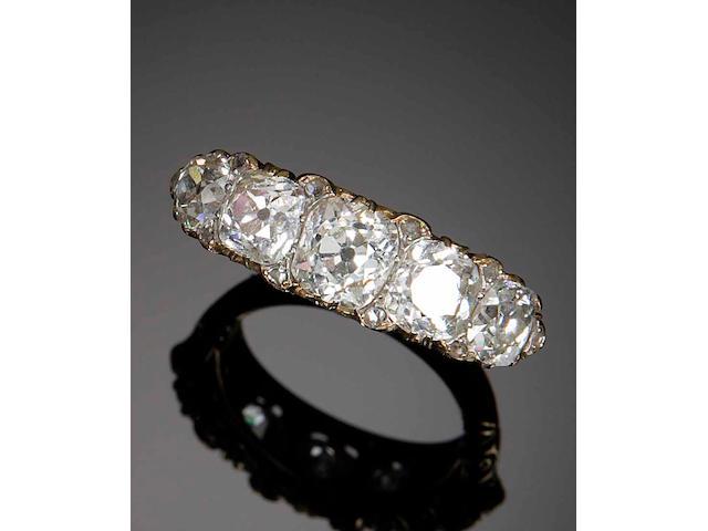 A Victorian diamond five-stone ring
