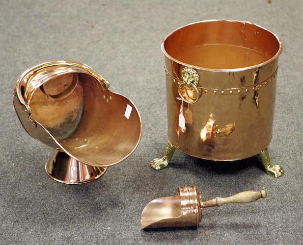 A copper coal scuttle and a copper and brass log bin