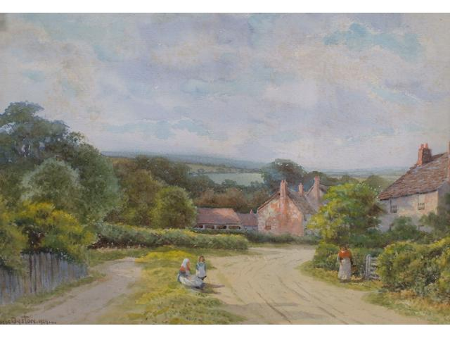 George Oysten Country village lane with figures conversing, 23.5 x 33.5cm.