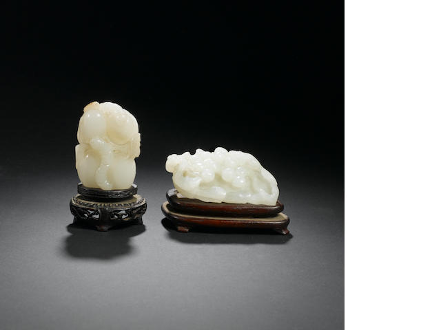 Two mutton white jade carvings 18th century