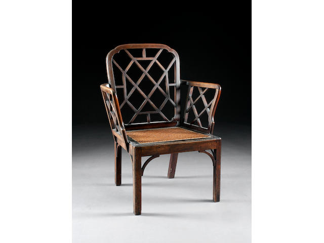 "A George III mahogany ""cockpen"" elbow chair"