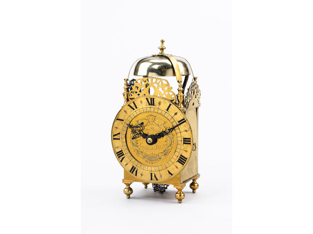 A brass lantern clock, probably early-20th Century,