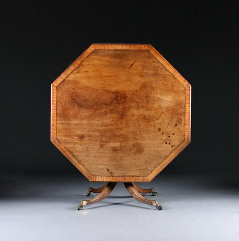 A good late George III satinwood-crossbanded mahogany snap-top octagonal breakfast table