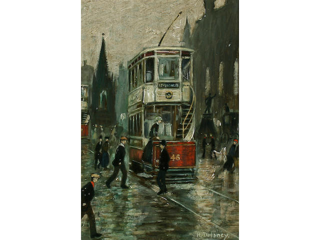 Arthur Delaney (1927-1987) Albert Square, Manchester, with trams, figures and carriage,