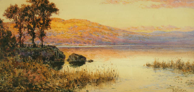 """Arthur Suker (born 1857) """"Evening, Grange over Sands"""", and """"Sunset in Westmorland"""", a pair,"""