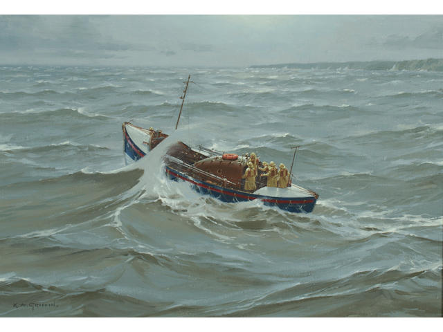 Keith Griffin Lifeboat off the coast, in a swell,