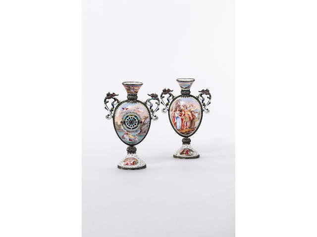 A pair of late 19th century Austrian urn shaped table timepieces