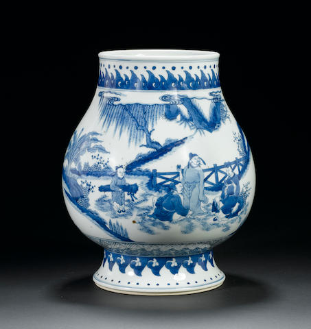 A blue and white baluster vase  Yongzheng