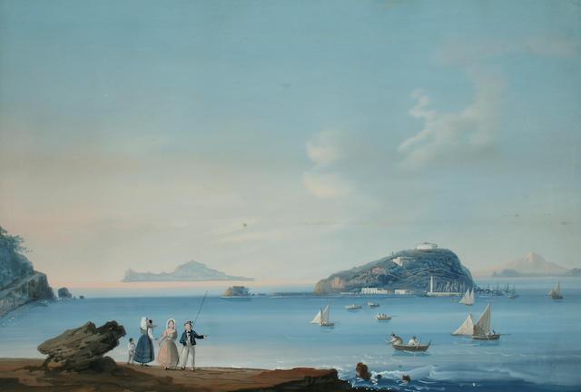 """Neapolitan School (mid 19th century) """"Isola di Nisita"""", and """" Eruzzioni Del 1857"""", a pair,"""