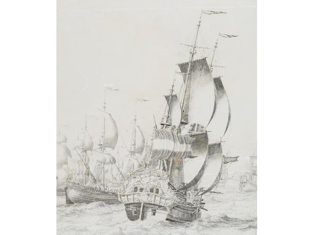 Adriaen Cornelisz. van Salm (Delftshaven 1686-1720) A fleet of Dutch Bootschepen 72.3 x 107 cm. (28½