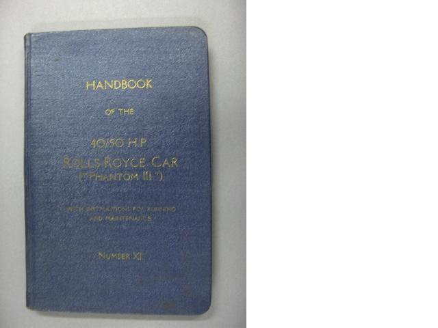 Handbook of the 40/50Hp Rolls-Royce car ('Phantom III'), number XI,