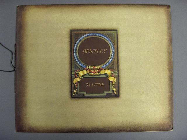 A Bentley 3½ litre sales catalogue, February 1935,