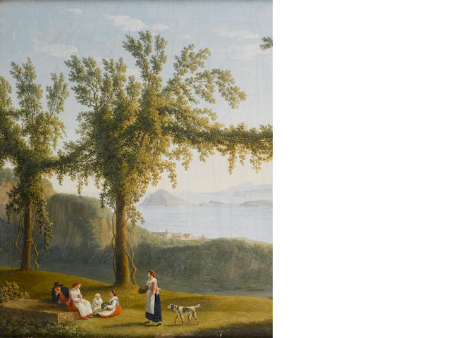 Jacob Philipp Hackert (Prenzlau 1737-1807 San Piero di Careggio)  Country folk resting beneath vines