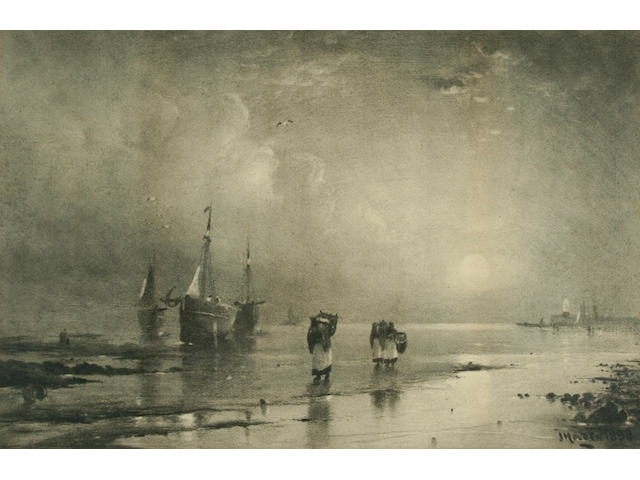 John Holden Fishing boats on the shore, probably the Isle of Man, and another fishing fleet at sea, a pair,