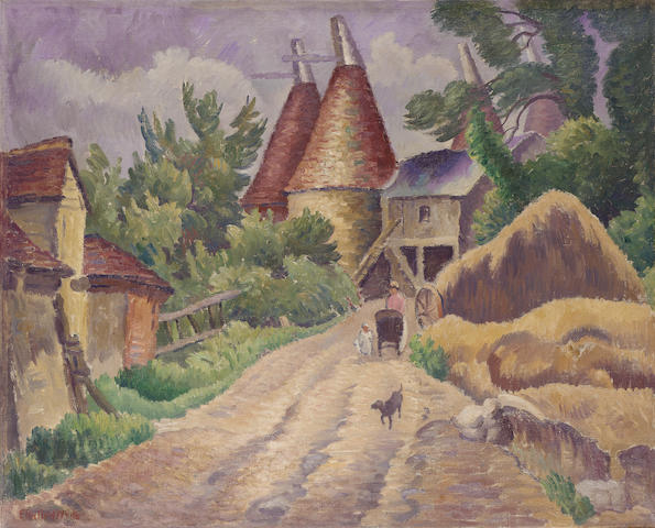 Ethelbert White (British, 1891-1972) Oast houses. 63 x 77 cm. (24 3/4 x 30 1/4 in.)