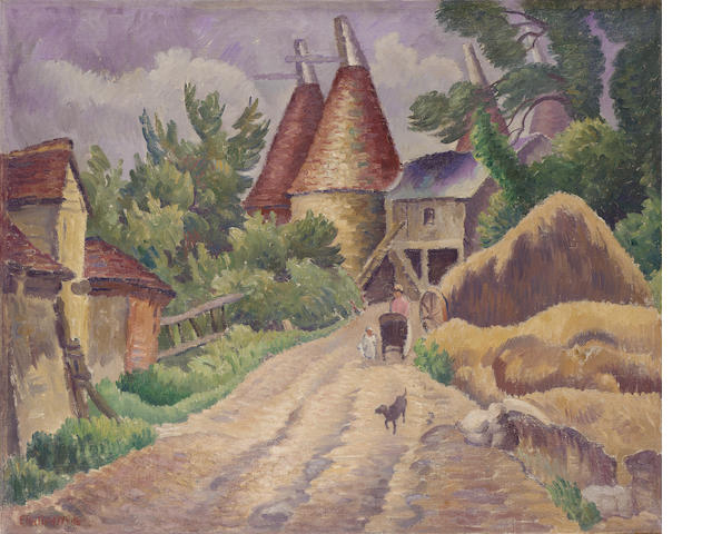 Ethelbert White R.W.S. (1891-1972) Oast houses 63 x 77 cm. (24 3/4 x 30 1/4 in.)
