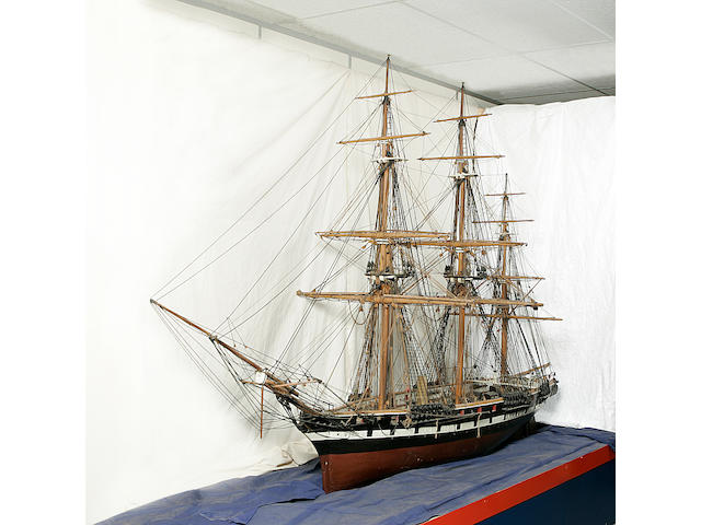 A large model of a 19th century 12 gun screw corvette 132x43x88in(335x101x224cm)