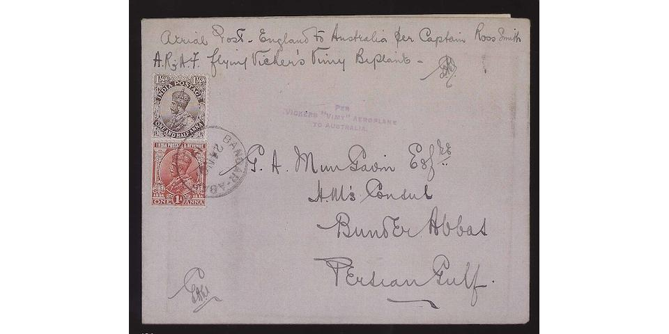 "Airmails: 1919 Envelope franked India 1½a. tied by Bandar-Abas cds, violet ""PER/VICKERS ""VIMY"" AEROPLANE/TO AUSTRALIA"" handstamp with original enclosure saying ""They left Basra this morning at 6.40 and arrived here without calling at Bushire at 3pm"", rare."