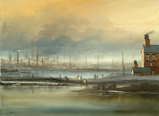 Brian Shields (Braaq) (1951-1997) Figures beside a river estuary