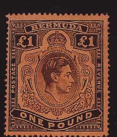 Bermuda: 1938-53 £1 purple and black on salmon (third printing March 1943), (broken lower-right scroll), fine mint. (185)
