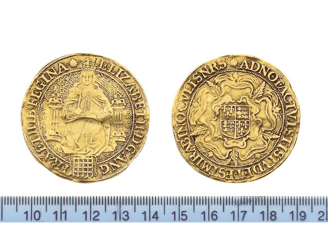 Elizabeth I, 1558-1603, fifth issue (1583-1600), Sovereign, 15.3g, queen enthroned holding orb and sceptre, portcullis at feet, tressure unbroken by throne, back of throne decorated with pellets, ELIZABETH D G ANG FRA ET HIB REGINA,