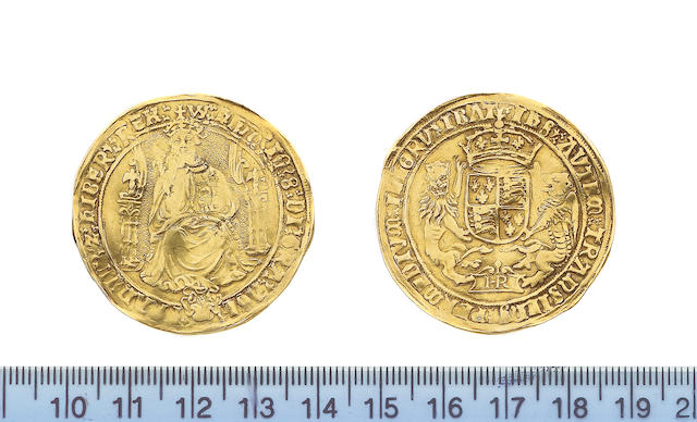 Henry VIII, 1509-1547, third coinage (1544-47), Sovereign, 12.0g, Bristol, WS/none, king with bearded portrait seated facing on throne, holding orb and sceptre, throne with curved sides, rose at feet, HENRIC 8DI GRA AGL FRANCIE Z HIBER REX,