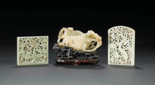 Three jade carvings 18th century