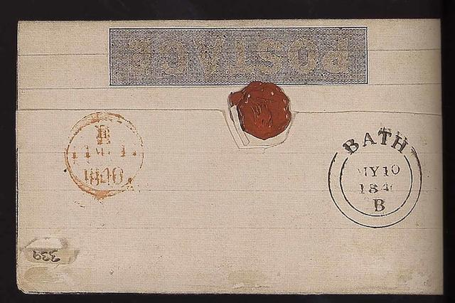 Mulreadys and other printed items 1d. lettersheet (stereo obscured by wax seal), used from Bath to St. Albans on the 10th. May 1840, the very rare first Sunday, clear Bath datestamp on reverse with receiving mark for 11th. May. (339)