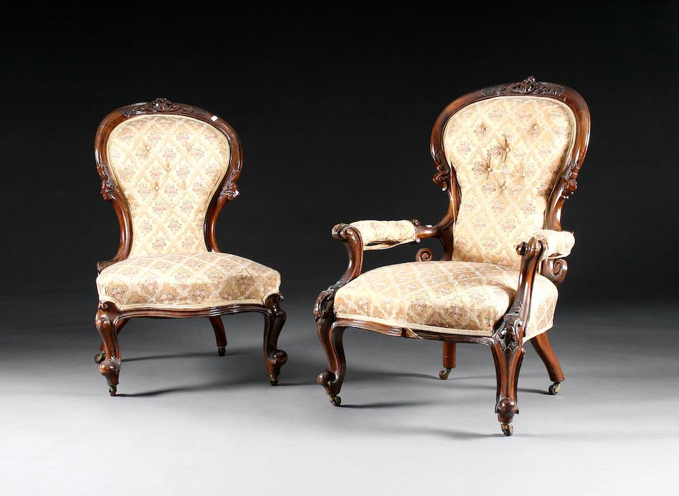 A matched Victorian walnut eight-piece salon suite