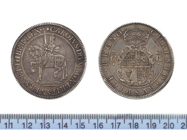 Charles I, Nicolas Briot's Coinage, first milled issue (1631-32), Crown, 30.0g, CAROLUS D G MAGN BRITAN FRAN ET HIBER REX, equestrian figure of king left,